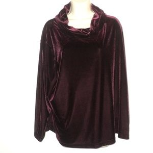 Jaclyn Smith Plus Size 2X Velvet Top Burgundy